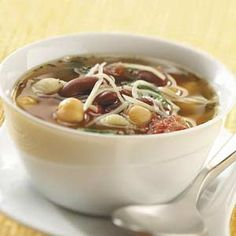 Minestrone, without the meat. I'd use the veggie broth on this one rather than chicken broth.