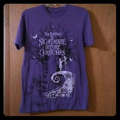 Nightmare Before Christmas Purple T-shirt *Good used condition- no holes, stains or tears* Brand: Disney but from Hot Topic Men's: size small Hot Topic Tops Tees - Short Sleeve