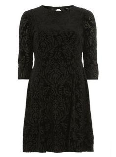Black devore burnout dress