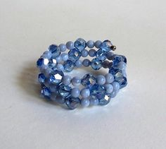 Blue Agate Memory Wire Bracelet with Blue AB Glass Beads