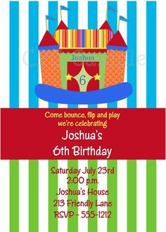 Bounce House Birthday Party Invitations, Bounce Castle Birthday Invitations, Cutie Patootie Creations  www.cutiepatootiecreations.com