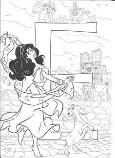Alphabet Coloring Disney_ E for Esmeralda Disney Coloring Pages Printables, Disney Coloring Sheets, Printable Christmas Coloring Pages, Disney Princess Coloring Pages, Disney Princess Colors, Disney Colors, Coloring Letters, Alphabet Coloring Pages, Coloring Book Pages
