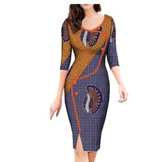 Image of 2018 african spring dress for women AFRIPRIDE three quarter sleeve knee. - Image of 2018 african spring dress for women AFRIPRIDE three quarter sleeve knee-length split casual women dress button African Fashion Ankara, Latest African Fashion Dresses, African Print Fashion, Short African Dresses, African Dress Styles, African Print Clothing, African Prints, African Traditional Dresses, African Traditional Wedding