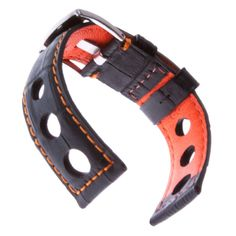 7120d2c33fa79 Alligator Grain Watch Band, Large Rally Holes, Black with Orange lining, 22  mm: Watches: Amazon.com