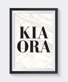 Kia Ora Print New Zealand Art Maori Art Quote Prints Hello New Zealand Art, Maori Art, Kiwiana, Quote Prints, White Art, Nursery Art, Art Quotes, Art Pieces, Poster Collage