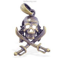 Bronze colored skull and cross bones pirate pendant #mspiercing #piercings