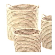 A strong, sturdy round basket woven from Palm. Small woven side handles make it great for storage that you like to move around. Size Options: (d) x (h) (d) x (h) (d) x (h) (d) x (h) (d) x (h) * Please note that these baskets are each sold individually - i