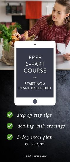 Learn how to successfully transition to a whole food plant based lifestyle by using the tips & tricks we provide you with in our Free 6 Part Course! Full of #vegan recipes, including a #meal plan and holsitic #health advice.