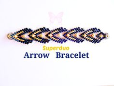 Tutorial Superduo Arrow Bracelet Pattern in Peyote Stitch  This Arrow Bracelet measures 1.5 inches wide and it is a statement piece of beadwork. It looks like a row of Spear Heads around your wrist.  The 10 pages of instructions have row by row diagrams and words, so it is easy to follow. if you have used Superduo beads before you can make this.  Pattern is available to download immediately when payment has been made.  Send me a photo of your bracelet made from this pattern and I will send…