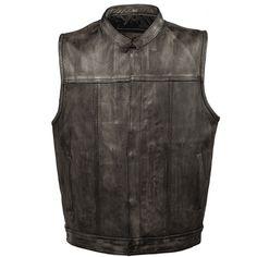 """Mens Black Solid Leather /""""Live to Ride/"""" Eagle Embossed Vest Side Lace Gun Pocket"""
