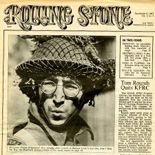 John Lennon as Private Gripeweed on the cover of Rolling Stone's first-ever issue.
