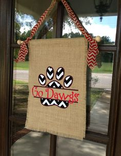 Go Dawgs burlap flag.  Love the embroidery!