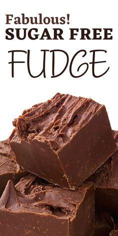 Sugar Free Fudge, Sugar Free Snacks, Sugar Free Desserts, Sugar Free Recipes, Easy Desserts, Homemade Cake Recipes, Diy Recipe, Fudge Recipes, Candy Recipes