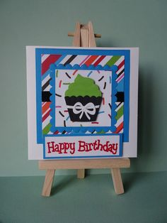 This birthday cupcake card is my entry into the anything goes challenges…