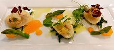 Parade Ring, Ascot: Scallop ceviche, asparagus, samphire,  tarragon and crab salad, tangerine vinaigrette