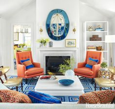 Inexpensive Living Room Decoration by Kimberly Thompson Living Room Decor Colors, Colourful Living Room, Room Colors, Living Room Designs, Paint Colors, Blue And Orange Living Room, Bohemian Living Rooms, Beautiful Living Rooms, House Beautiful
