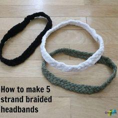 5 strand braided headband ecokaren Strand Braided 'T-Shirt' Headband Tutorial~ Headband Tutorial, Headband Pattern, Diy Headband, Braided T Shirts, 5 Strand Braids, Diy Hair Accessories, T Shirt Yarn, Diy Hairstyles, Men's Hairstyle