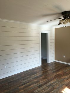 "Client remodel. Faux shiplap wall with larger 1/8"" spacing and Pergo Max flooring in River Road Oak - #Client #Faux #Flooring #larger #Max #Oak #Pergo #Remodel #River #Road #shiplap #Shiplap #spacing #Wall"