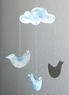 DIY - color in - cloud with 3 birds - cardboard mobile pendant