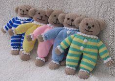 Hand-knitted Pyjama Teddy Bear Toy by DorothyLollipopKnits on Etsy