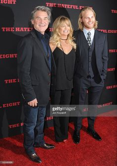 Kurt Russell, Goldie Hawn and son Wyatt Russell arrive at the Los Angeles Premiere 'The Hateful Eight' at ArcLight Cinemas Cinerama Dome on December 7, 2015 in Hollywood, California.