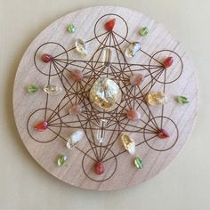 'Happiness' Crystal Grid: Purpose: Supporting you to live a life filled with happiness, lightness and a positive outlook. Crystals: Carnelian, Citrine, Clear Quartz, Peridot and Sunstone. Metatron's Cube Symbol: Embodies the keys of our Universe, and 5 Platonic Solids from which all life springs. Used for creation, balance and potential.
