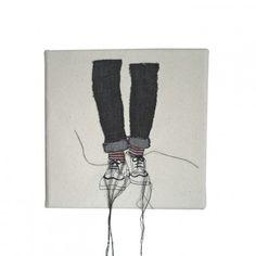 Stripy socks embroidered art canvas