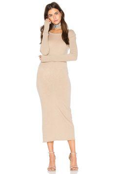 Enza Costa x REVOLVE Cashmere Long Sleeve Crew Dress in Khaki   REVOLVE