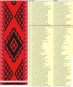 46 cards, 4 colors, repeats every 58 rows, GTT༺❁ Inkle Weaving, Inkle Loom, Card Weaving, Tablet Weaving Patterns, Willow Weaving, Viking Knit, Fiber Art, Crafty, Knitting