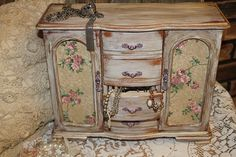 Shabby Chic,French Dresser, Farmhouse Cabinet,Vintage Jewelry Box, Extra Large Jewelry Box, Roses. $160.00, via Etsy.