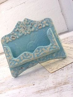 Rustic chic business card holder autumn fall home white wedding aqua aqua aqua rustic business card holder cast iron old by alacartcreations colourmoves