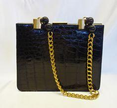 9f7d763d7908 Vintage Black Bellestone Alligator Shoulder Bag with Heavy Chain Handle