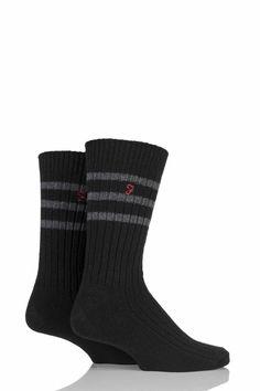 72b071859 Farah 2 Pack Classic Wide Stripe Socks Black ZZ 02 for sale online