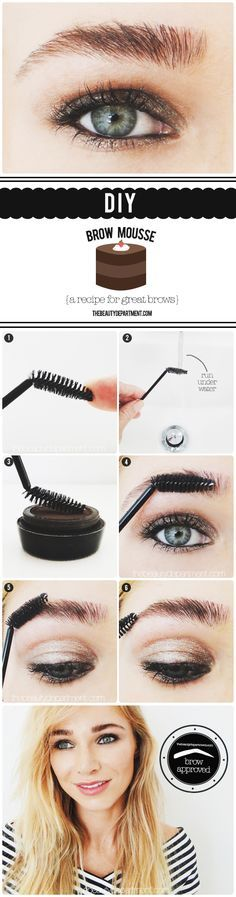 Tutorial on DIY Brow Mousse by The Beauty Department by Saje Sandhu. Check out more Makeup on Bellashoot. All Things Beauty, Beauty Make Up, Hair Beauty, Beauty Skin, Kiss Makeup, Hair Makeup, Makeup Lipstick, Beauty Secrets, Beauty Hacks