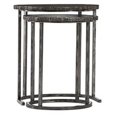 Hooker Furniture Black Nesting Tables In Wood And Metal 500 50 949 Dkw Hooker Furniture, Living Furniture, Furniture Sale, Table Furniture, Square Side Table, Round Side Table, Painted Nesting Tables, Marble End Tables, Oval Coffee Tables