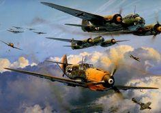 Ju-88 Junkers and Messerschmitt 109 World War II German Aircraft