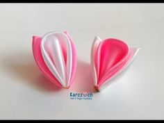 Kanzashi #18 - Curled petal with 2,5 and 5 cm ribbons - YouTube