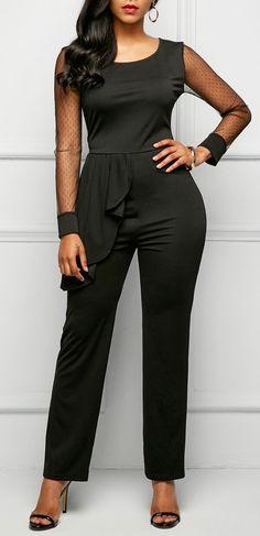 Black Ruffle Embellished Mesh Panel Jumpsuit