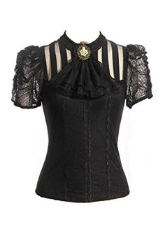 Steampunk Retro Punk Brocade Gothic Emo Womens Clothing Shopping Tee Shirt Tops…