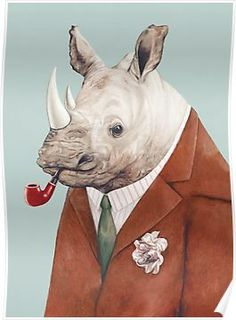 """""""Rhino"""" art by AnimalCrew features a portrait of a rhinoceros wearing a suit and smoking a pipe. Art Encadrée, Art Mural, Wall Art, Framed Art, Rhino Art, Rhino Animal, Fine Art Prints, Canvas Prints, Wall Prints"""