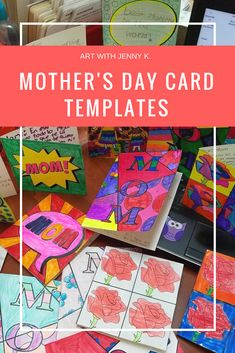 Mother's Day card templates from Art with Jenny K give kids the start they sometimes need to get going on something great! Easy for teachers, fun for kids, loved by moms! #artwithjennyk