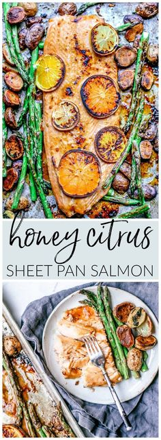Low Unwanted Fat Cooking For Weightloss This Easy Honey Citrus Sheet Pan Salmon Recipe Is Slathered With A Finger-Licking Honey Citrus Glaze And Baked Alongside Crisped Up Potatoes Asparagus For An Easy Weeknight One Pan Dinner. Citrus Salmon Recipe, Salmon Recipes, Fish Recipes, Seafood Recipes, Dinner Recipes, Vegetable Recipes, Dinner Ideas, Recipies, Salmon Dinner