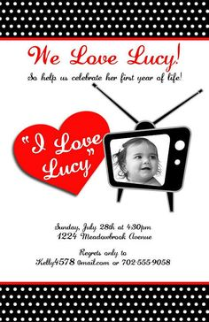I Love Lucy Invitations by LittleLawsPrints on Etsy, $24.95