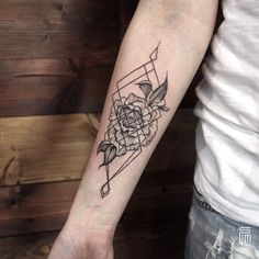 Geometric Peony Tattoo by Dasha Sumkina