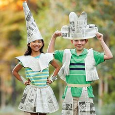 Newspaper Fashion Show recycled-crafts. Maybe do a costume … Newspaper Fashion Show recycled-crafts. Maybe do a costume parade after the panel to show off their creations. Newspaper Hat, Newspaper Crafts, Summer Camp Crafts, Camping Crafts, Kids Fashion Show, Diy Fashion, Recycled Costumes, Costume Carnaval, Paper Clothes