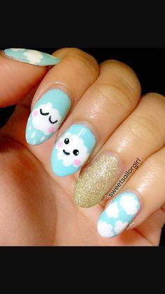 Nail Art Designs, My Nails, Kawaii, Clouds, Painting, Kawaii Cute, Painting Art, Paintings, Nail Designs