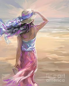 Woman On A Windy Beach by Tim Gilliland