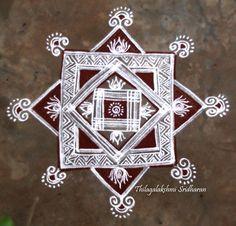 Rangoli and Art Works: FRIDAY PADI KOLAM Rangoli Borders, Rangoli Border Designs, Rangoli Patterns, Rangoli Designs Diwali, Rangoli Designs With Dots, Kolam Rangoli, Rangoli With Dots, Beautiful Rangoli Designs, Kolam Designs