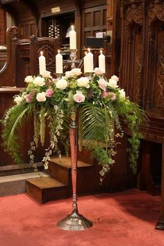 Huge Floor standing Candelabra, looks superb with fresh flowers arranged around the top Church Wedding Flowers, Church Wedding Decorations, Flower Bouquet Wedding, Floral Wedding, Candelabra Flowers, Candelabra Centerpiece, Altar Flowers, Large Flower Arrangements, Wedding Arrangements