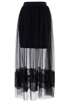 Black Mesh Lace Maxi